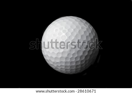 This is a black and white image of an isolated golf ball