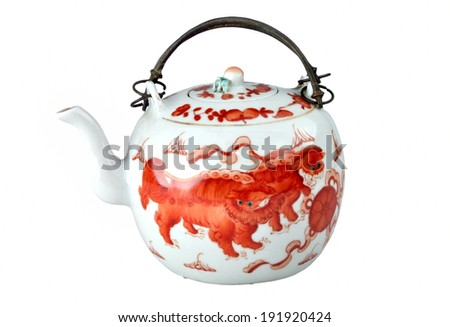 This is a Chinese qing dynasty about 100 years ago the teapot - stock photo