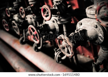 This Is A Closeup Shot Of Big Rusted Valve - stock photo