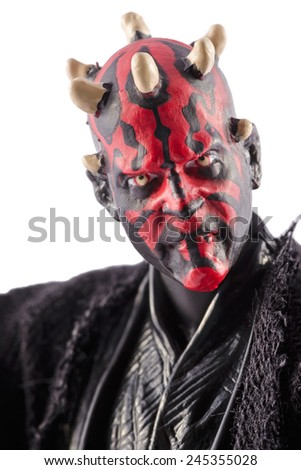 This is a Darth Maul action figure. This Star Wars movie character made by Hasbro. / Darth Maul portrait / Komarom, Hungary - 6th December 2014  - stock photo