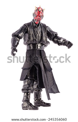This is a Darth Maul action figure. This Star Wars movie character made by Hasbro. / Darth Maul action figure / Komarom, Hungary - 6th December 2014  - stock photo