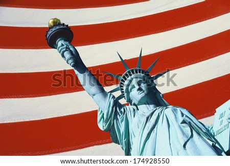 This is a digitally created image of the Statue of Liberty. The background has the red and white stripes of the American flag. - stock photo