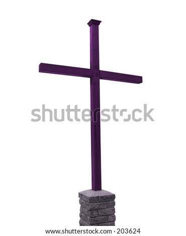 This is a drop out white background shot of a purple toned wooden cross.
