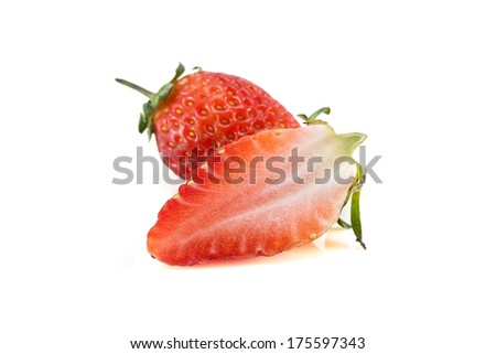 This is a fresh, bright red strawberry shot on a white background.