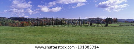 This is a green field on Darling Hill Road. There are fall leaves on the distant trees with a blue sky and white puffy clouds. - stock photo