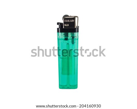 This is a green Lighters, It's made in Thailand - stock photo