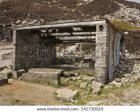 This is a hut from an old abandoned granite quarry in the mourne mountains ireland - stock photo