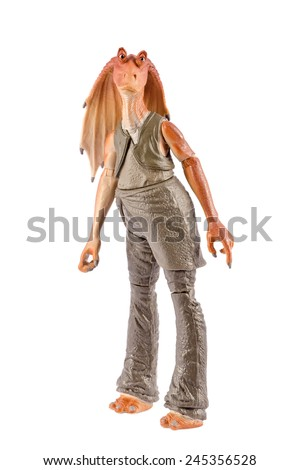 This is a Jar Jar Binks action figure. This Star Wars movie character made by Hasbro. / Jar Jar Binks action figure / Komarom, Hungary - 28th December 2014  - stock photo
