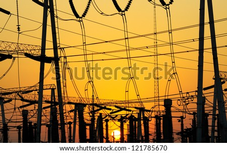 This is a 22KV substation, a complex substation equipment and high-voltage tower.