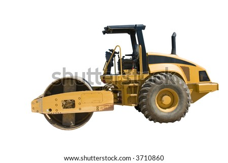 This is a large highway construction packing roller used to pack sand and aggregates before the laying of asphalt. Isolated on a white background. - stock photo