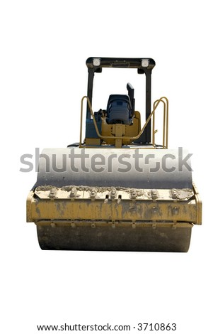This is a large highway construction packing roller used to pack sand and aggregates before the laying of asphalt. Isolated on a white background.