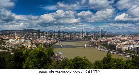 This is a panorama photo of Budapest, the capital of Hungary. It lies on both sides of the river Danube. - stock photo