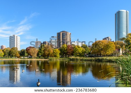 This is a park in Minneapolis, Minnesota.  - stock photo