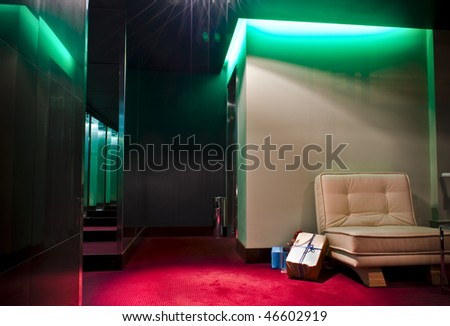 This is a photograph of a five-star hotel`s lobby - stock photo