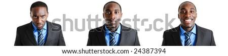 This is a photomontage business man expressing anger, normality and happiness. - stock photo