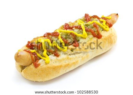 This is a picture of a hot dog I ate for lunch one day. - stock photo