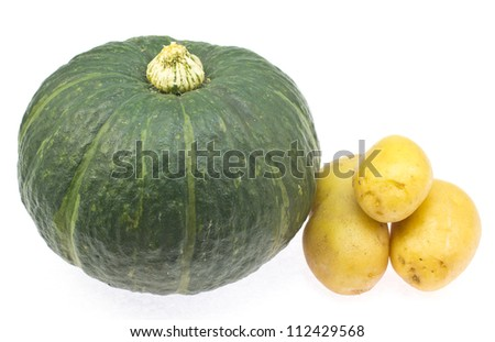 This is a picture of my pumpkin and potatoes were taken in August.