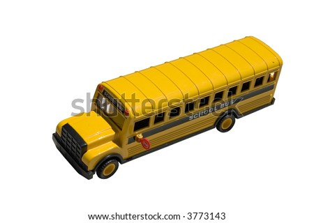 This is a picture of the top of a toy school bus isolated on white.