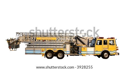 This is a side view of a fire truck with ladders and a bucket used for reaching fires in high places. isolated on a white background.