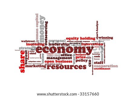 This is a speak bubble about economy - stock photo