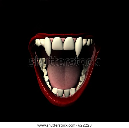 This is a vampire smile. - stock photo