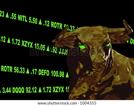 This is a variation with made up stock symbols and layout changes.  A closeup of a bull head with green gaining stock tickers scrolling around it.  This represents a bull market or aggresive growth. - stock photo