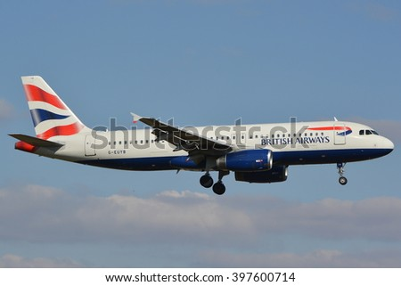 This is a view of British Airways plane Airbus A320-232 registered as G-EUYB on the Warsaw Chopin Airport. March 16, 2016. Warsaw, Poland. - stock photo