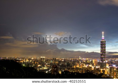 This is a view of Taipei City just after sunset.  The tall building is Taipei 101, which towers over the rest of Taipei.