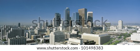 This is a view of the Los Angeles skyline in morning light.