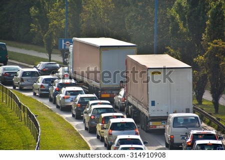 This is a view of traffic in Lublin City. September 9, 2015. Lublin, Poland.