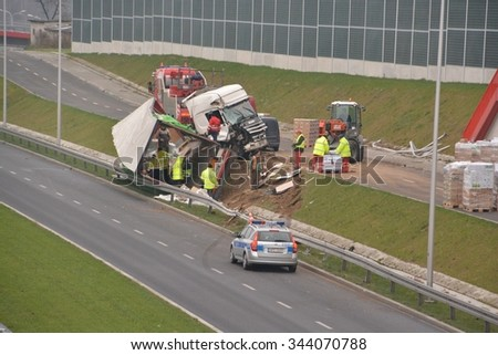 This is a view of truck crash on the speedway S17 in Lublin. November 26, 2015. Lublin, Poland.