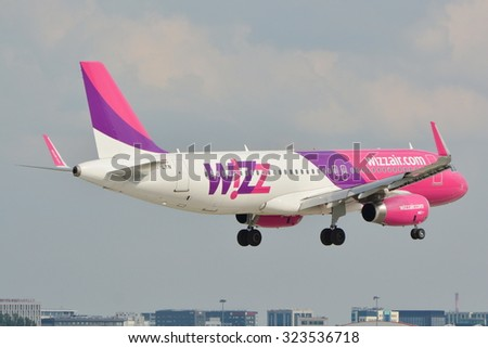This is a view of Wizzair plane Airbus A320-232 registered as HA-LYN on the Waraw Chopin Airport. September 16, 2015. Warsaw, Poland.