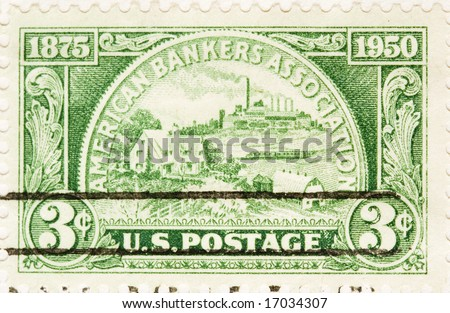 This is a Vintage 1950 canceled US Postage Stamp American Bankers Association