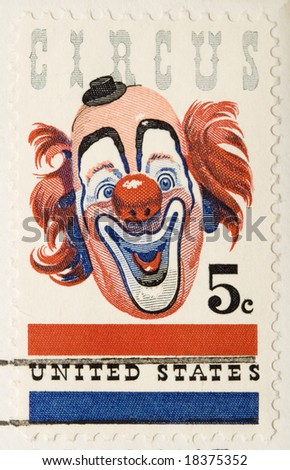 This is a vintage 1966  Stamp  Clown