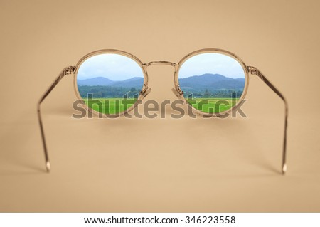 This is a Vintage sunglasses look to landscape - stock photo