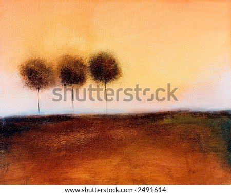 This is an abstract painting of three trees on a horizon at sunset.