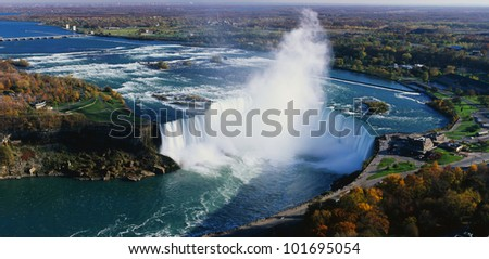 This is an aerial view of the Horseshoe Falls.