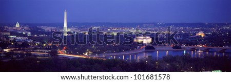 This is an aerial view of Washington, DC with the Jefferson Memorial, U.S. Capitol, Washington Monument, and Lincoln Memorial. - stock photo