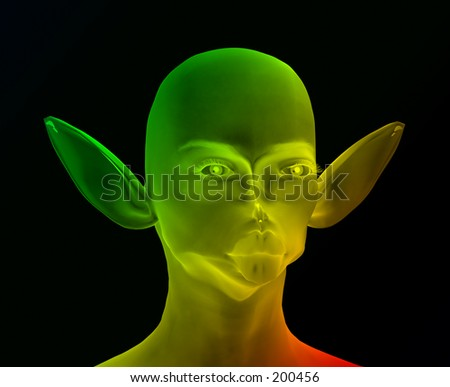 This is an alien which I created using a 3D modelling package as well as Photoshop.