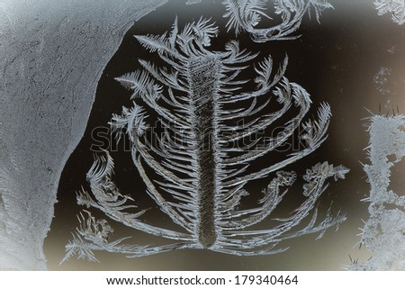 This is an ice crystal macro photograph. - stock photo