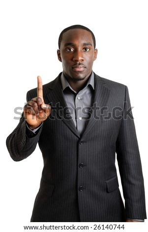 This is an image of a business man showing one finger. - stock photo