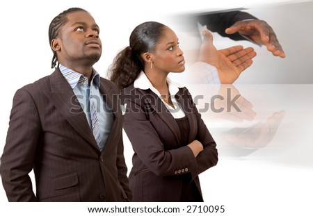 "This is an image of a businessman and businesswomen thinking of completing a deal in the near future. This image can be used to represent ""Vision of Deals"" themes and ""Planning"" themes."