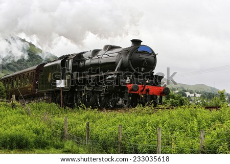 This is an image of an old steam locomotive, UK - stock photo