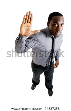 This is an image of business man with hand up. - stock photo