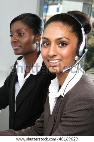 This is an image of helpdesk center operator. - stock photo
