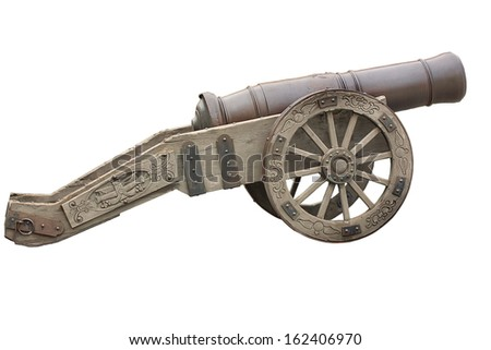 This is an old cannon Russian army 18 th century. Isolated on white, clipping path.