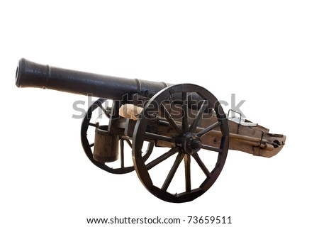 This is an old cannon Russian army  18 th century.  Isolated on white, clipping path. - stock photo