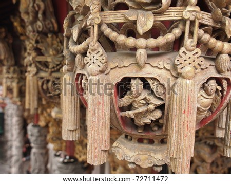 This is an unique decorative part of the traditional Taiwanese architecture, called hanging cylinder, taken in the Sanshia Master Temple famous for its architecture and sculptures in Taiwan.