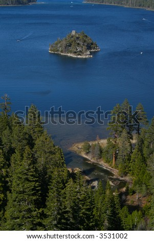 This is beautiful Emerald Bay in Lake Tahoe, California one summer day with Fannette Island in the middle.