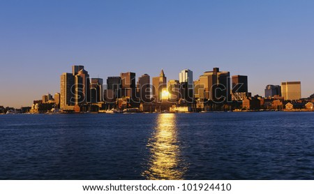 This is Boston's skyline with the waterfront in view in morning light. - stock photo